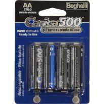 """Batterie Ricaricabili Stilo """"carica500"""" Beghelli  (bl.4pz.)"""