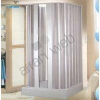 Box doccia in PVC a tre lati a soffietto con apertura centrale