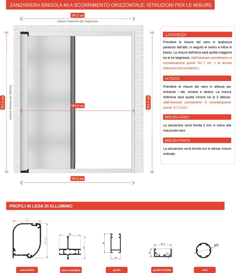 1 scelta zanzariera laterale calamita 43mm alluminio - Misure porta finestra ...