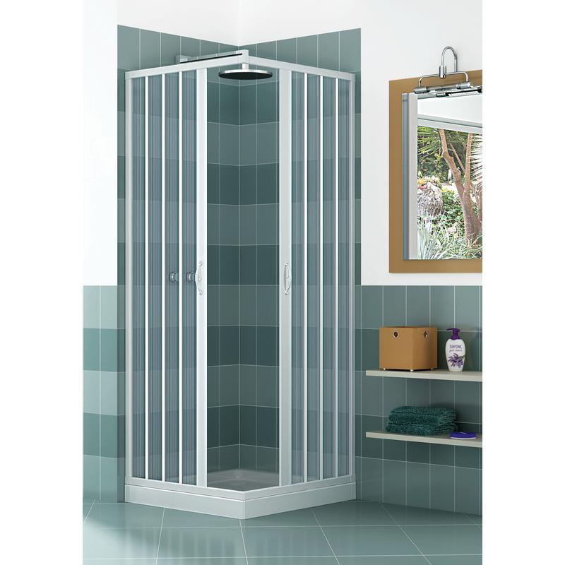 Box doccia in pvc a 2 lati scorrevole a soffietto for Tapparelle per cabina