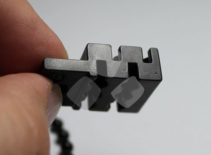 Ferma-blocco in nylon per catenella zanzariera a doppio sistema