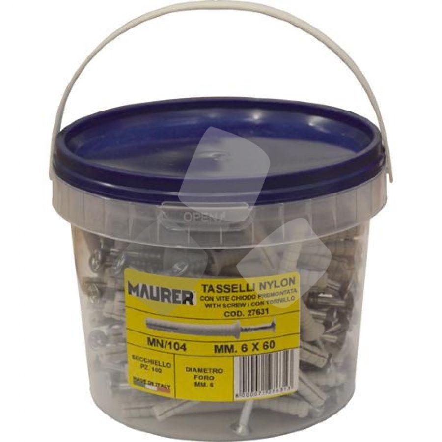 Tassello Nylon Maurer (secchiello 100 Pz) C/vite A Chiodo