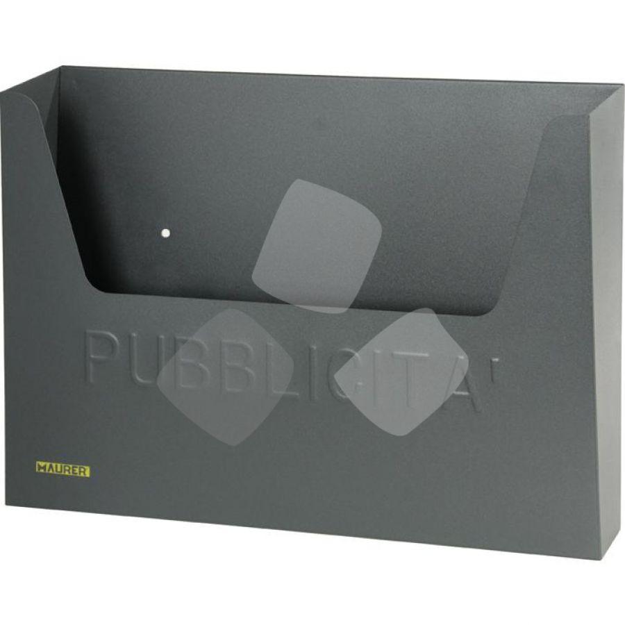 cassetta porta pubblicita' in acciaio maurer misura 34x8x26h cm.