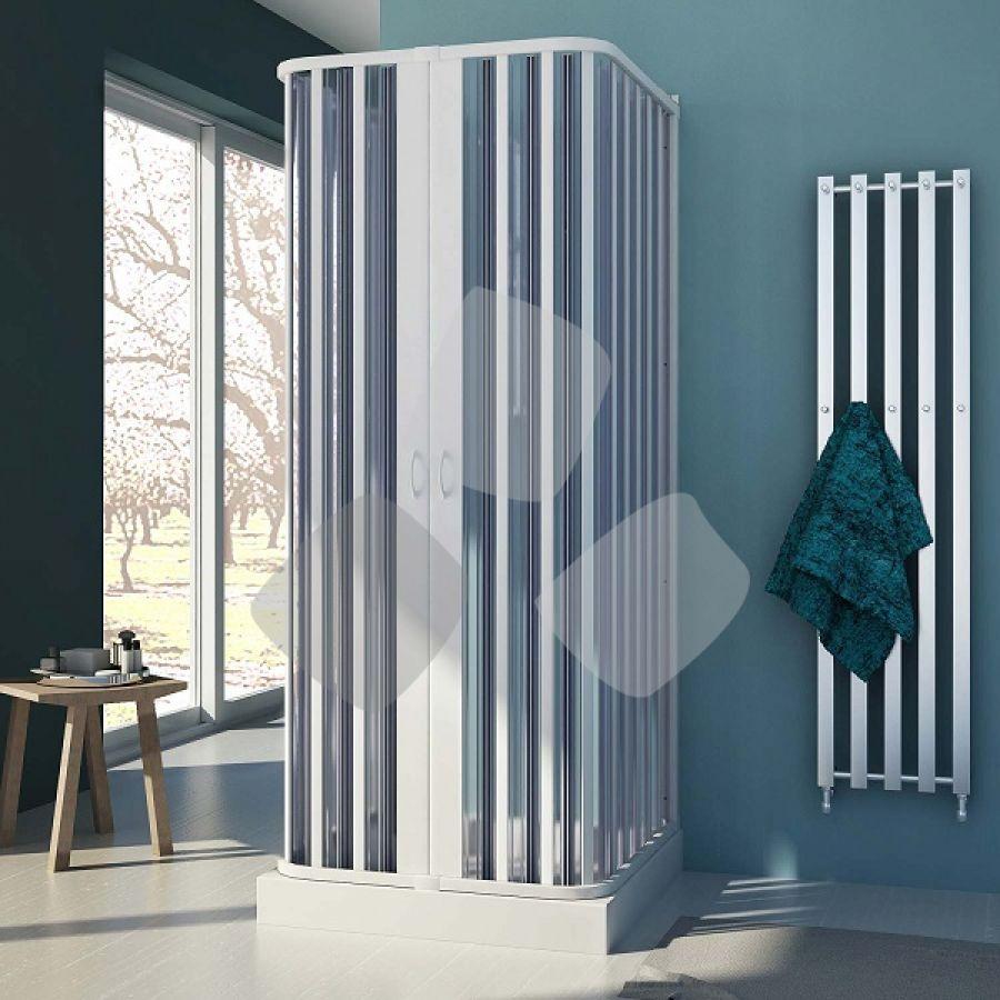 Box doccia in PVC a 3 lati a soffietto con apertura centrale